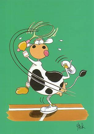 Vache qui joue au tennis